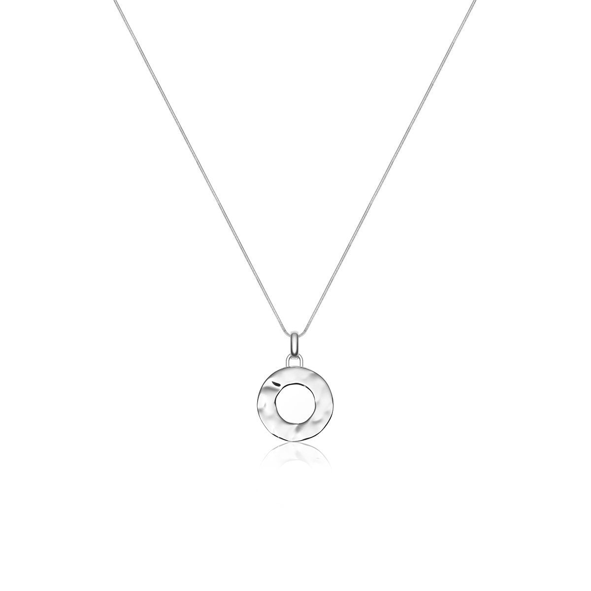Luna Large Hammered Circle Necklace (Silver)