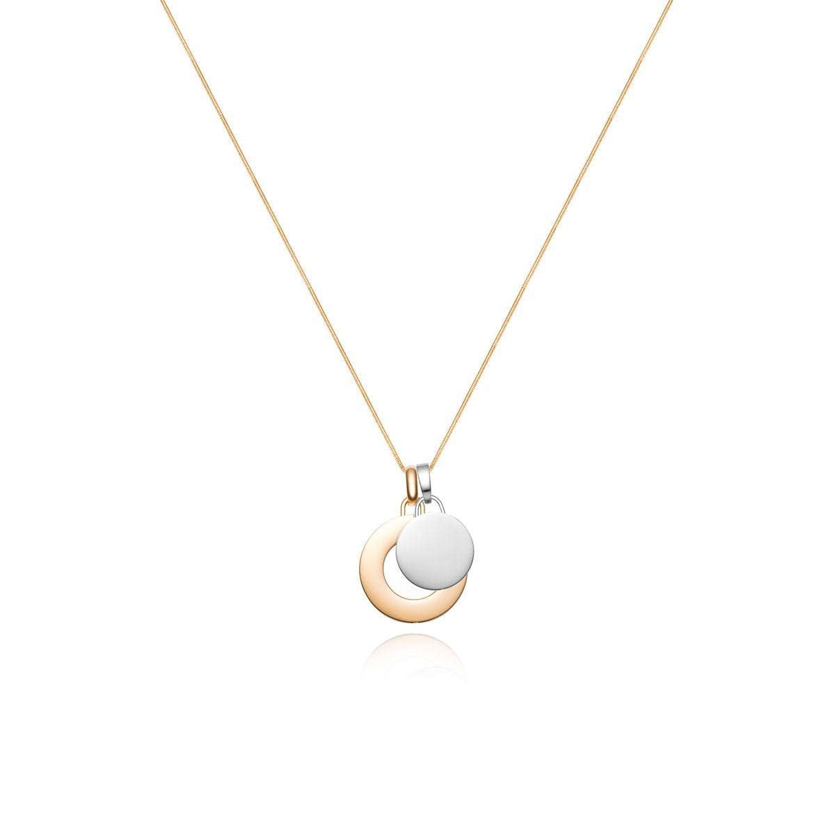 Luna Large Circle Charm Necklace (Gold)