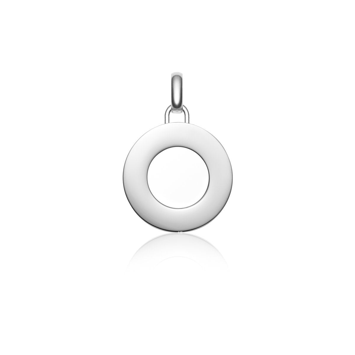 Luna Large Circle Charm Necklace (Silver)