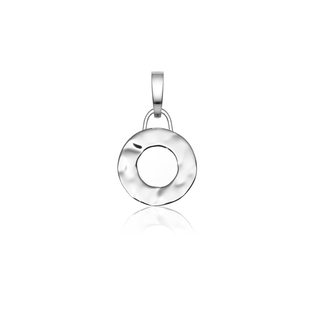 Luna Small Hammered Circle Charm (Silver)
