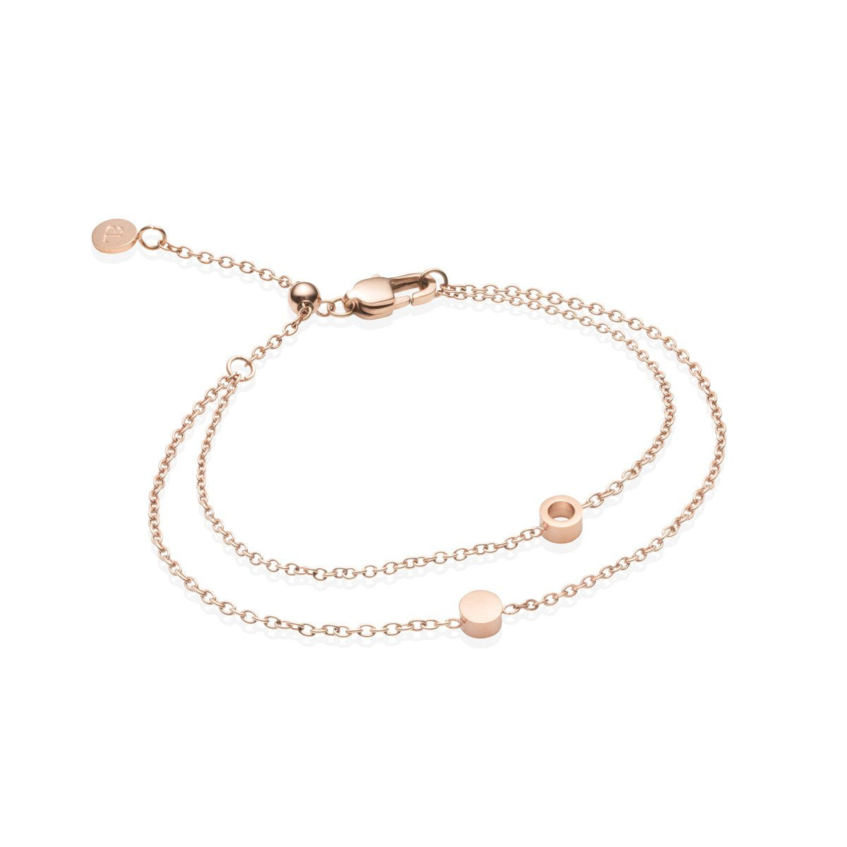 Little Luxe Double Disc Bracelet (Rose Gold)