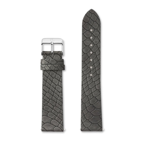 Charcoal Grey Gator Leather 40 Strap (Silver)