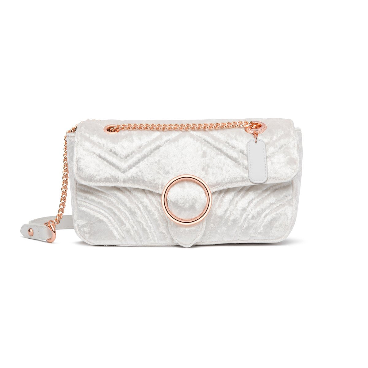 Gigi Velvet Shoulder Bag (Snow White/Rose Gold)