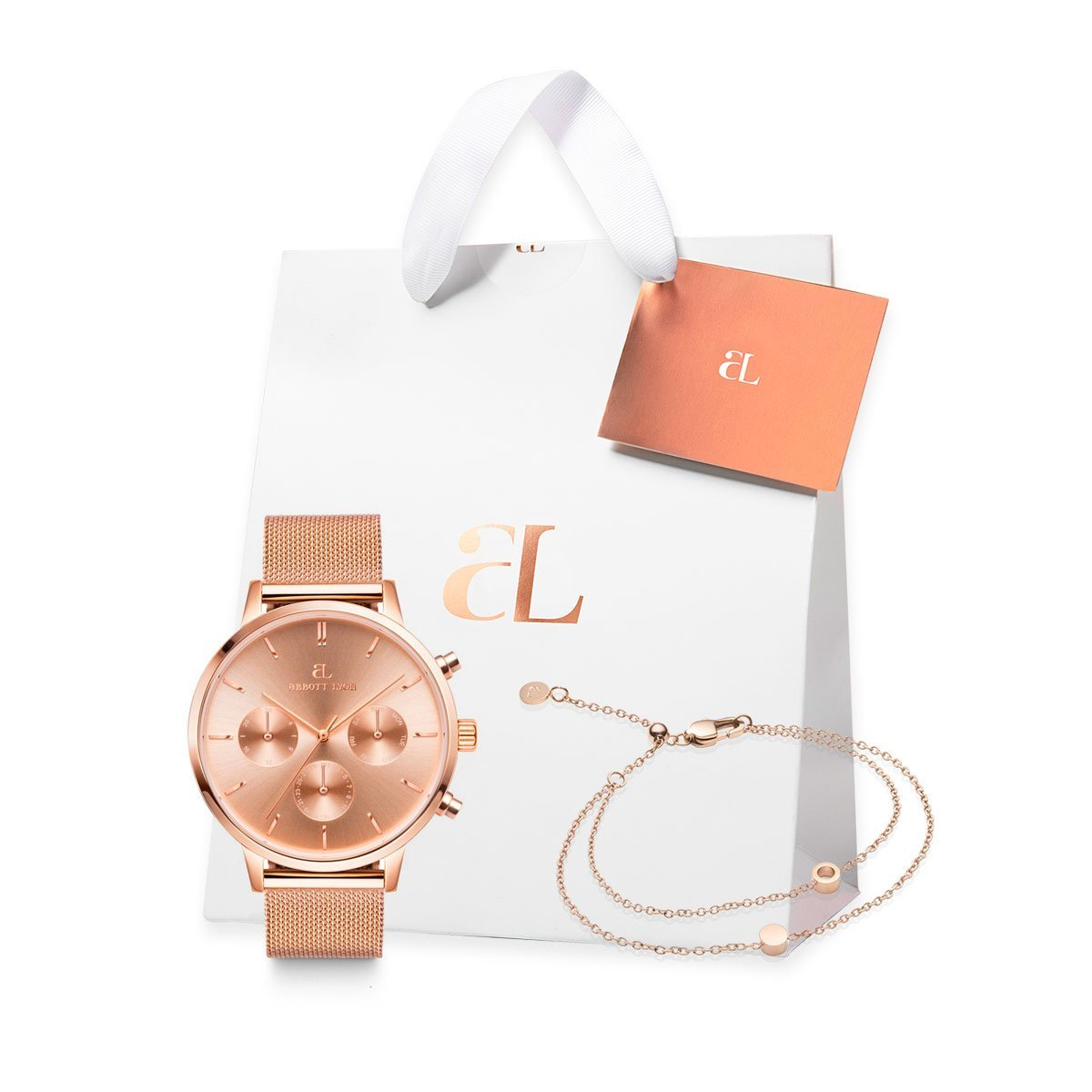 The Rose Gold Chain Nueva Little Luxe Double Disc Gift Set (Rose/Rose)