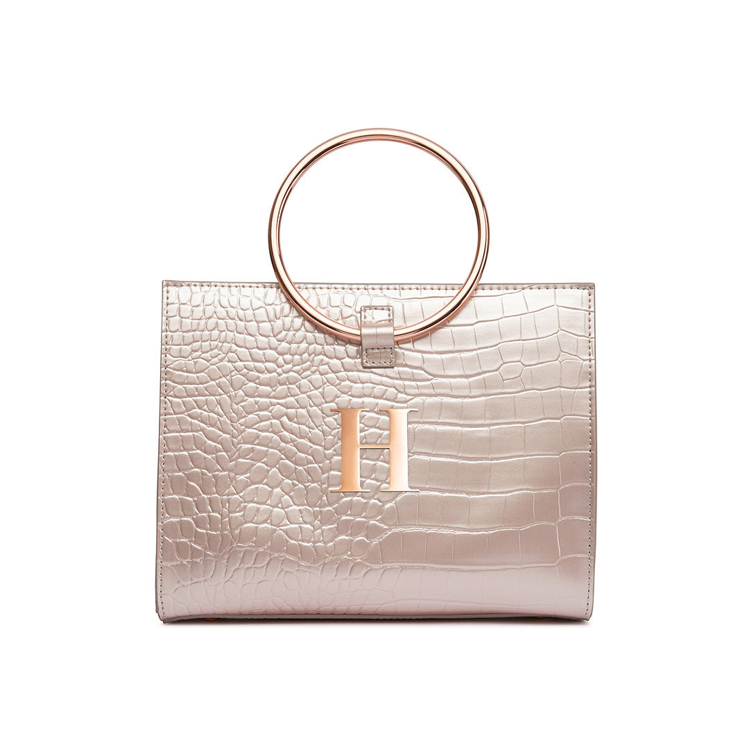 Moda Top Handle Bag (Shimmer Blush/Rose Gold)