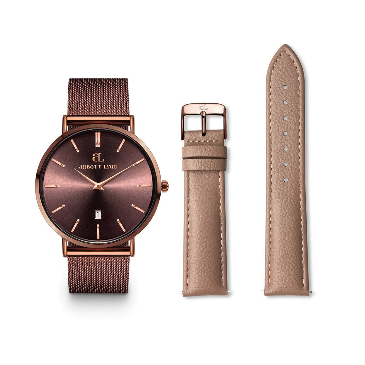 The Mocha Chain Stellar 40 Mocha Leather Strap Gift Set (Mocha/Mocha)