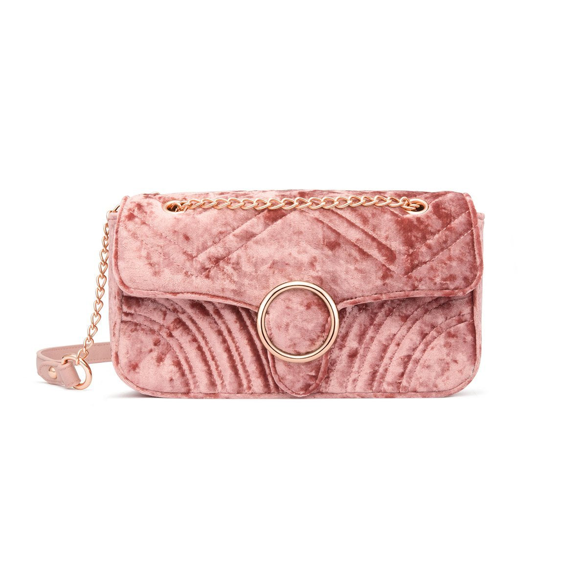 Gigi Velvet Shoulder Bag (Millennial Pink/Rose Gold)
