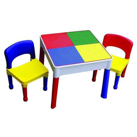 3 IN 1 TABLE WITH STORAGE AND 2 CHAIRS