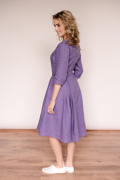 Linen retro dress with 3/4 sleeves