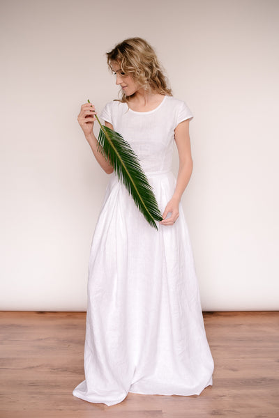 Linen modest wedding dress