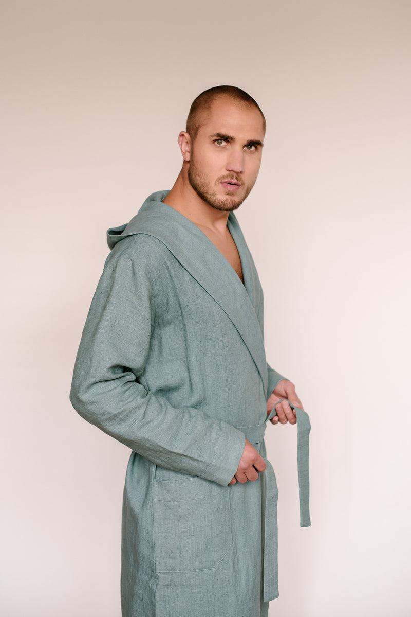 Linen men's hooded bathrobe