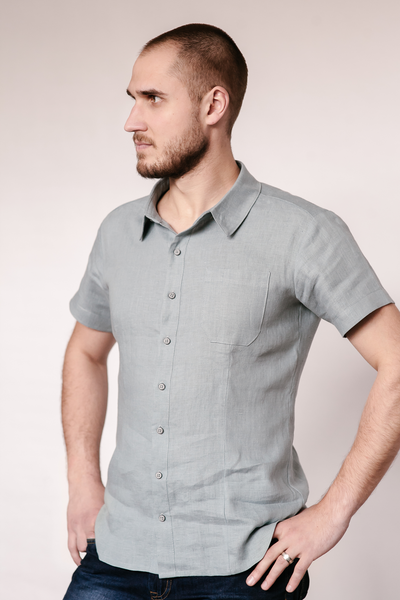 Linen short sleeve men's shirt