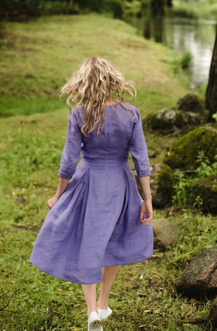 Linen retro dress 3/4 sleeves