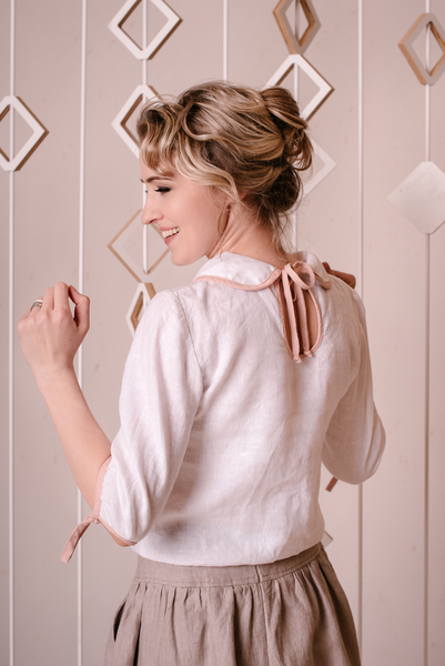Linen Peter Pan blouse