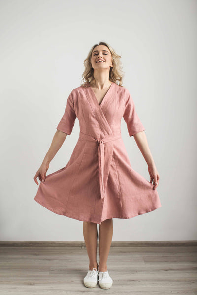 Linen wrap around dress