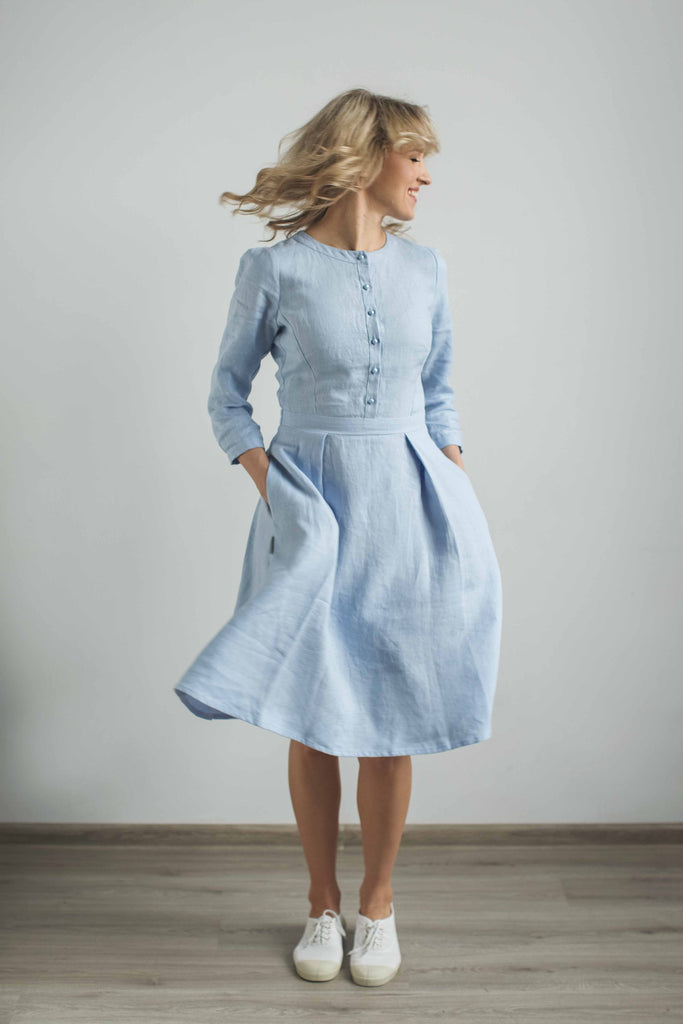 17bc0d6d9f Linen elegant dress. Handcrafted by CozyBlue.