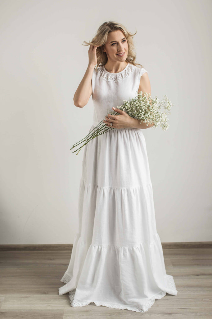 Linen wedding dress with a lace – CozyBlue