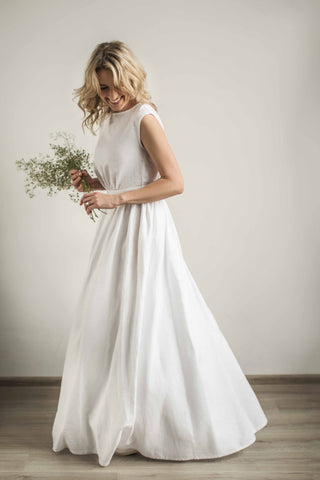 Linen greek style wedding dress