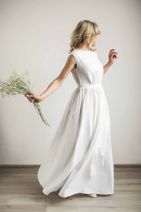 Linen Grecian Wedding Dress.