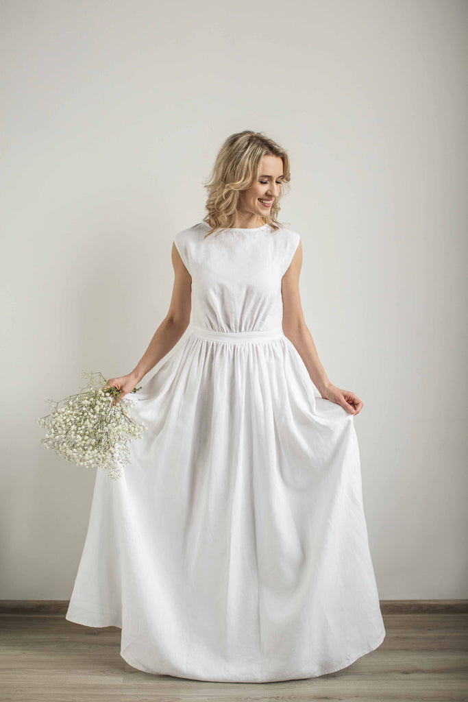 Linen Greek Style Wedding Dress Made To Measure Cozyblue