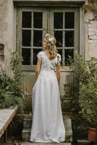 Simple elegant linen wedding dress
