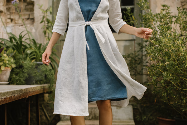 Linen wedding dress coat