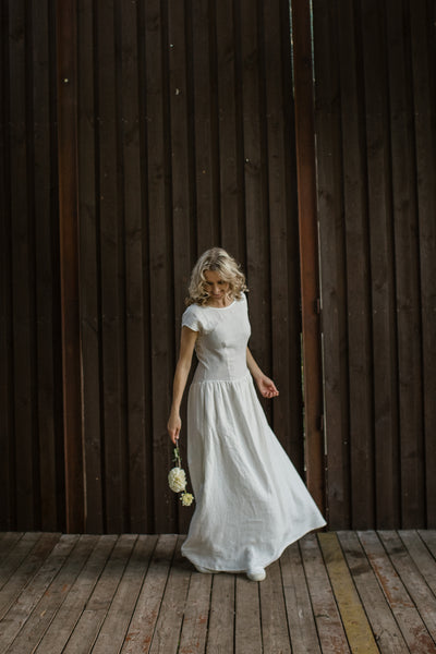 Linen romantic wedding dress