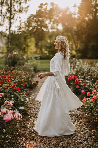 Linen wedding coat
