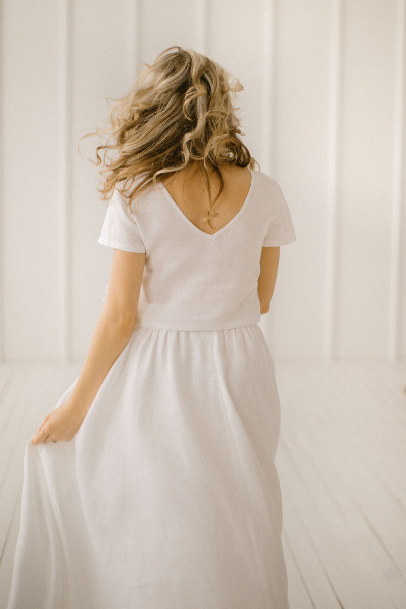 Modest Linen Wedding Dress