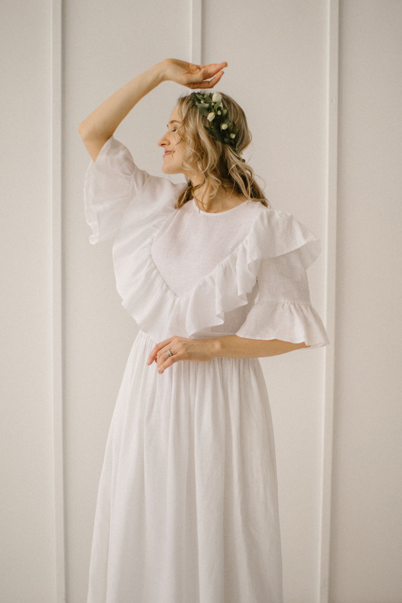 Linen Hippie Wedding Dress