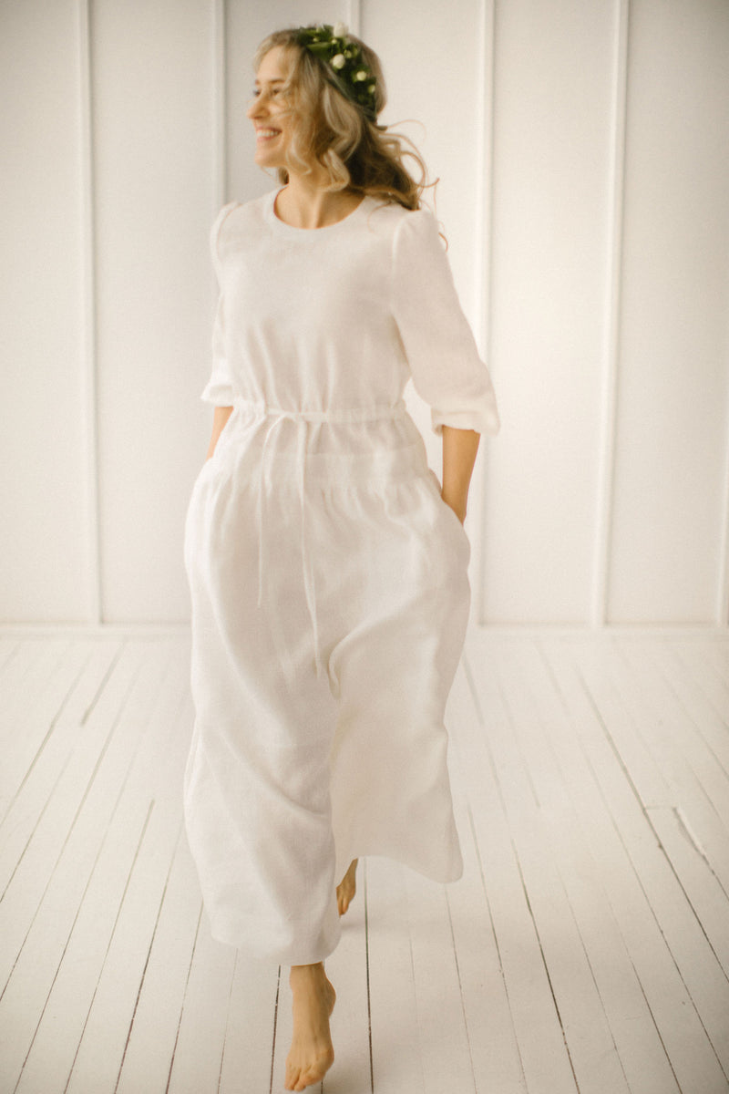 Simple Linen Wedding Dress