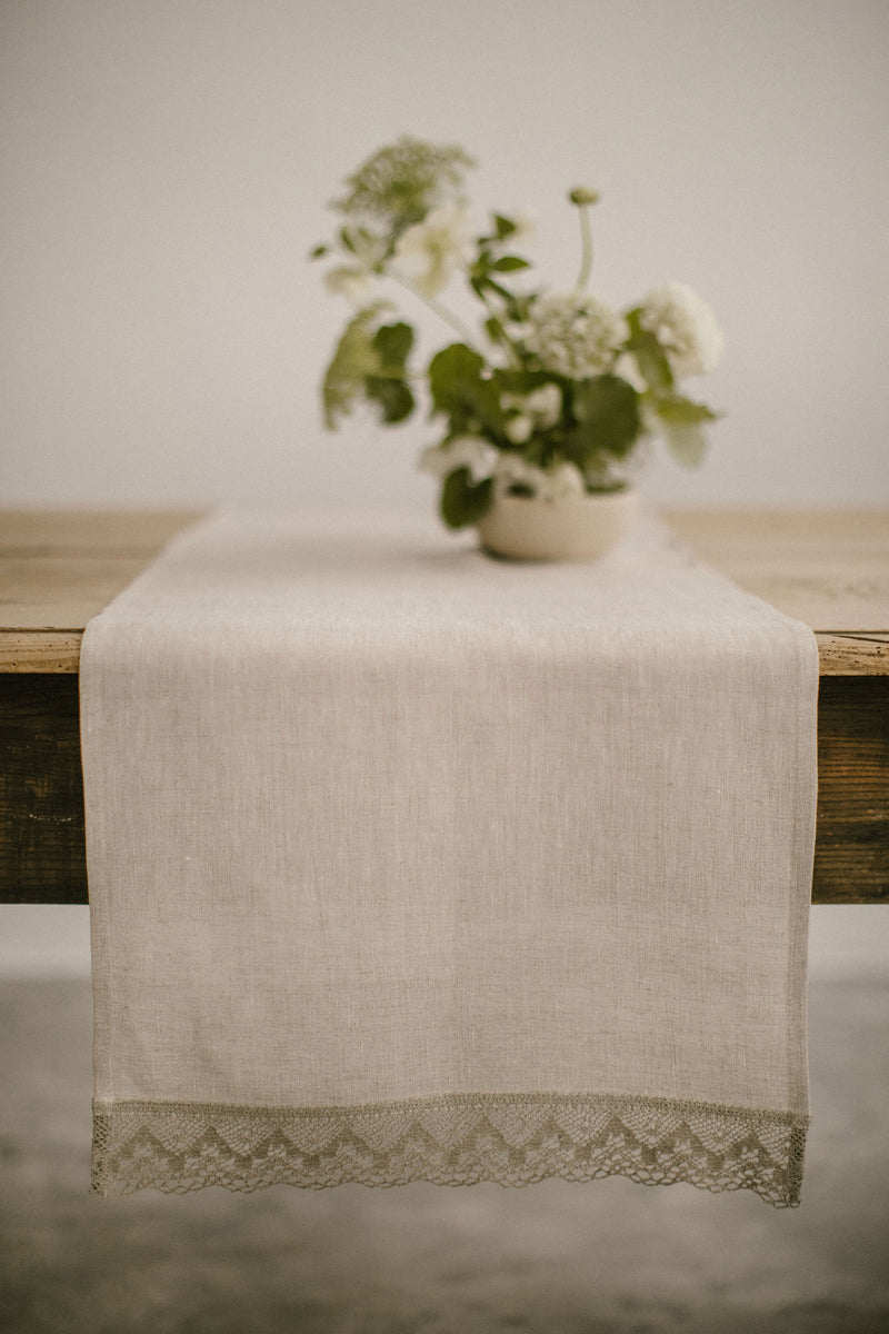 Linen Table Runner With Lace
