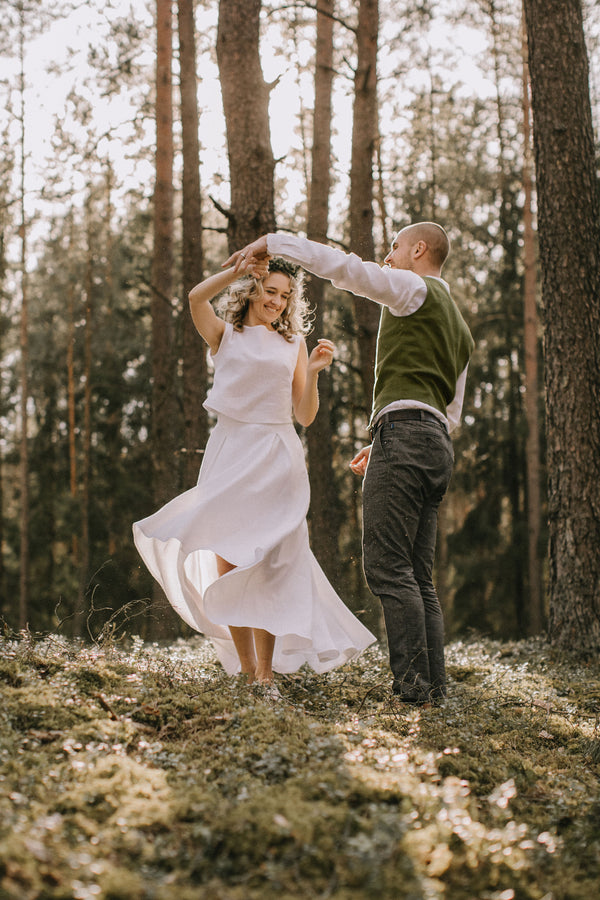 Linen High-Low Wedding Dress