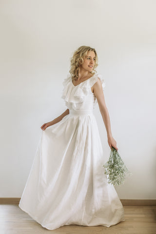 Linen v back wedding dress