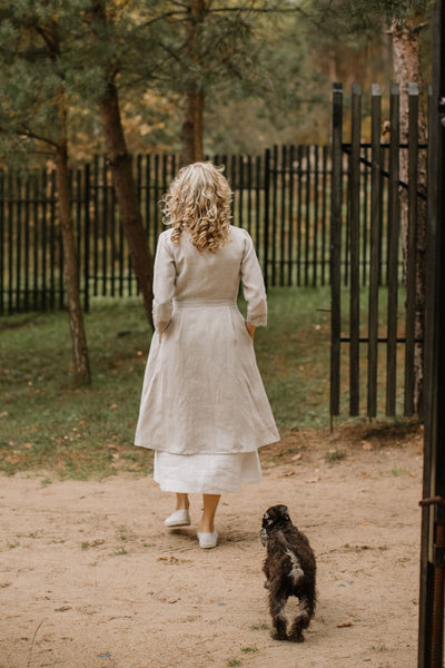 Linen wedding coat with a lace