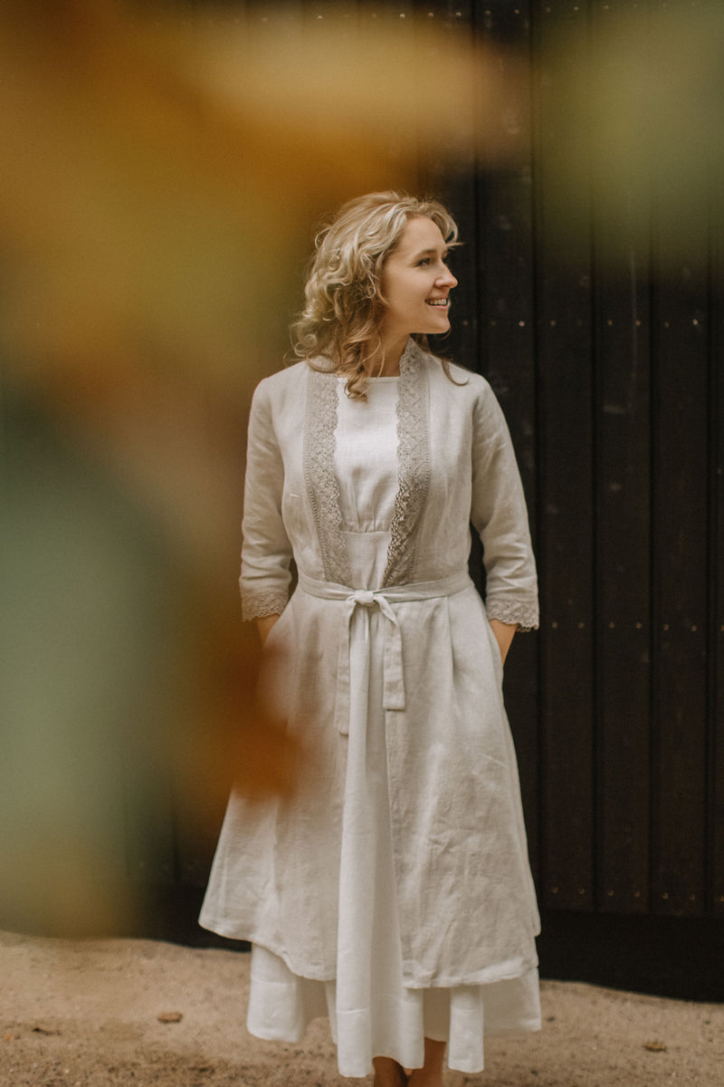 Linen wedding dress coat with lace