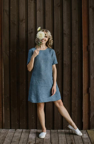 Linen denim dress