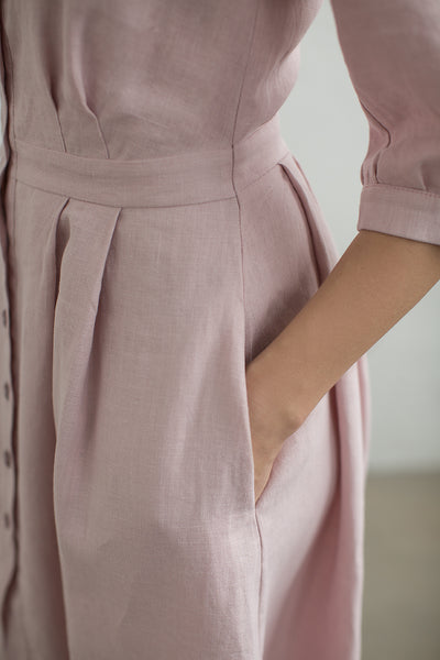 Linen dusty rose dress