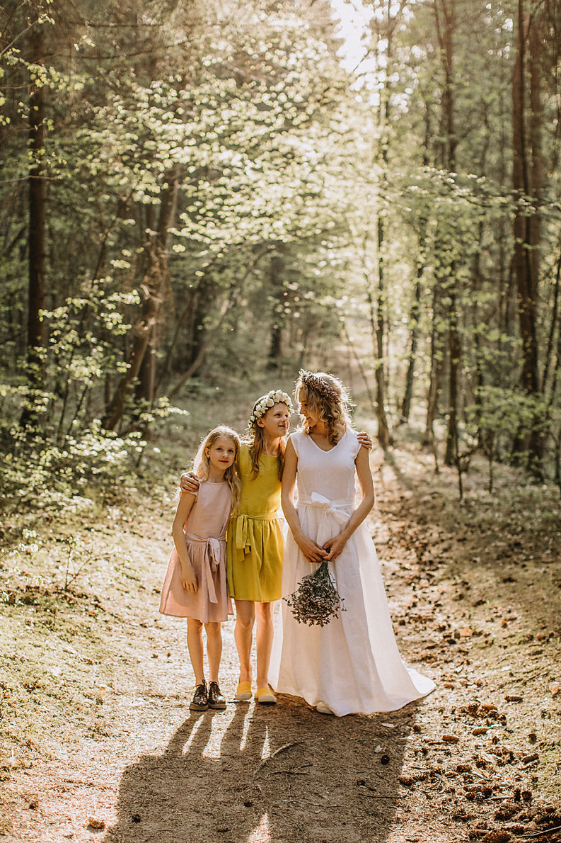 Linen Wedding Dress With Train