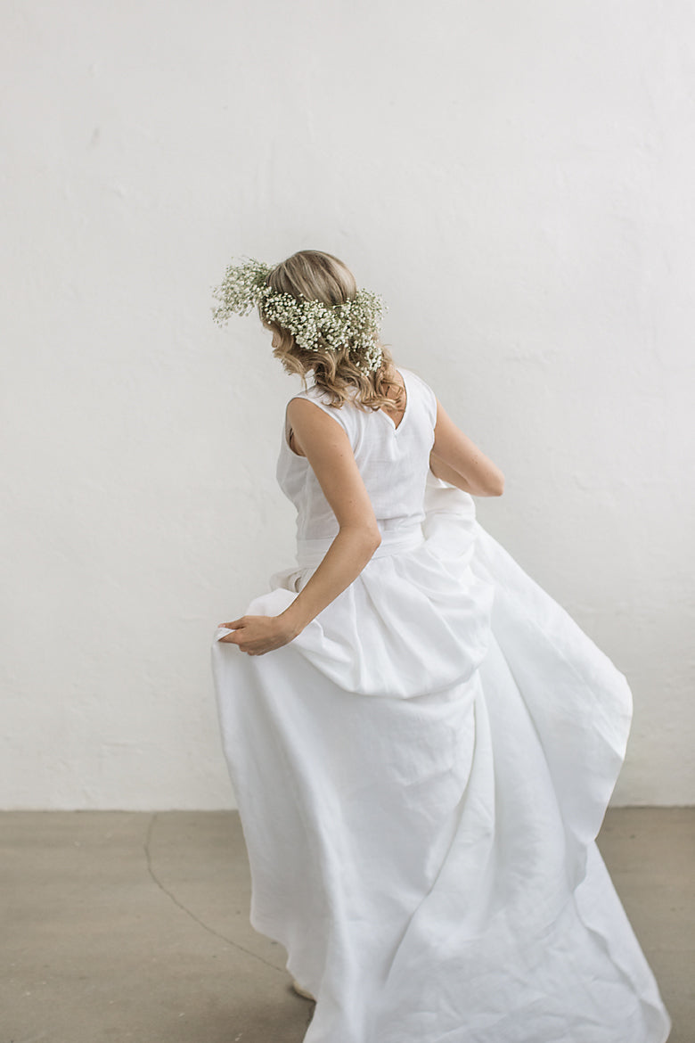 Linen wedding dress with a train