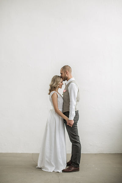 Linen beach wedding dress