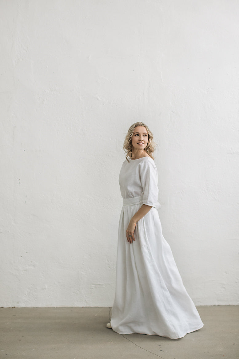 Linen boho wedding dress