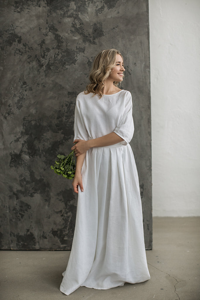 3ff05437ba Linen boho wedding dress. Handcrafted by CozyBlue.