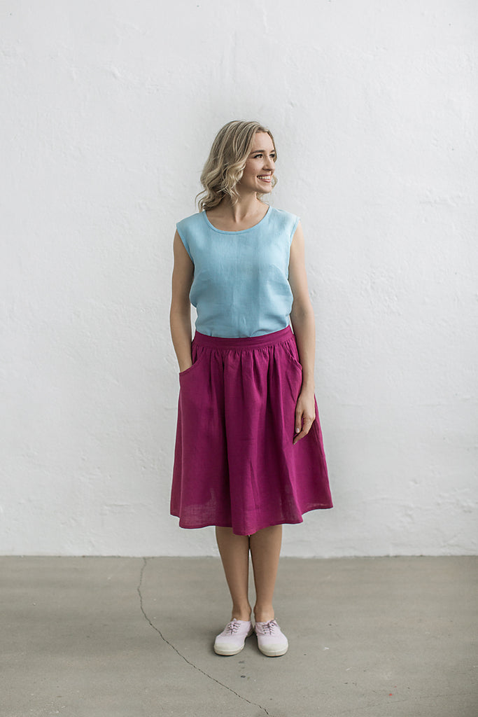 Linen ruffled skirt
