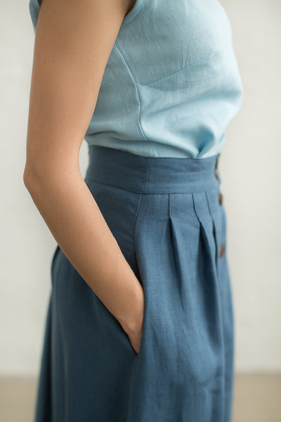 Long linen button down skirt
