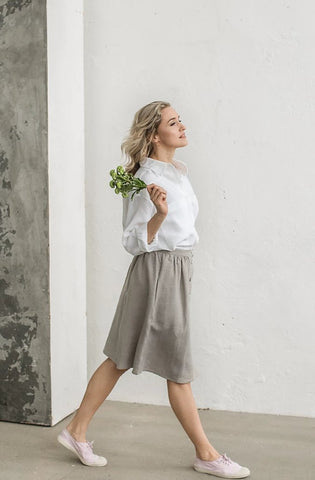 Linen button down skirt