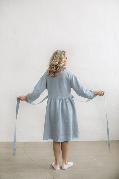 Loose linen shirt dress