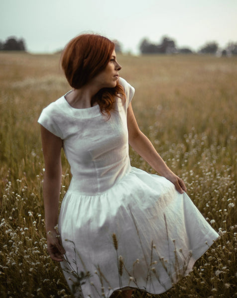 Linen romantic dress