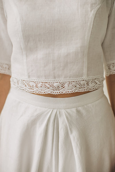 Linen crop top wedding dress