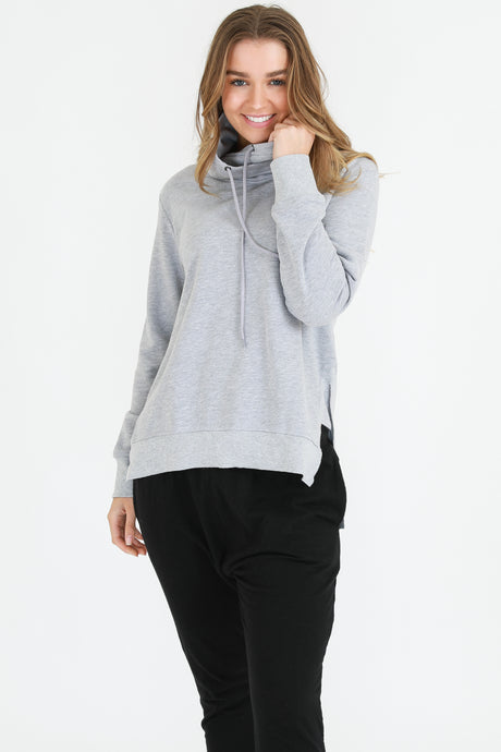 Alicia high neck sweat - Grey Marle